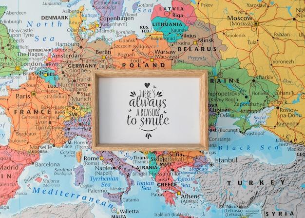 Makieta ramki na mapie europy Darmowe Psd