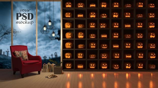 Makieta ramki na zdjęcia. projekt wnętrz w festiwalu halloween. dużo głów pumkind na th Premium Psd