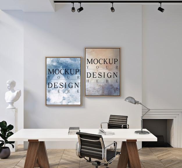 Makieta Ramki Plakatowej W Nowoczesnym Nowoczesnym Pokoju Biurowym Premium Psd