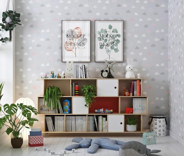 Makieta Ramki Plakatowej W Pokoju Dziecinnym Z Książkami Premium Psd