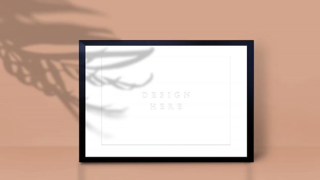 Makieta Ramki Z Cieniem Liści Palmowych. Format A4. Premium Psd