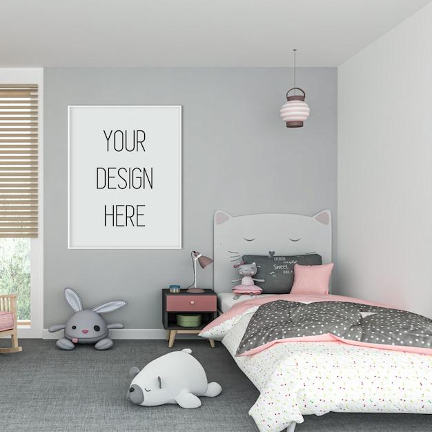 Makieta Ramy W Pokoju Dziecięcym Z Białą Ramą Pionową Premium Psd