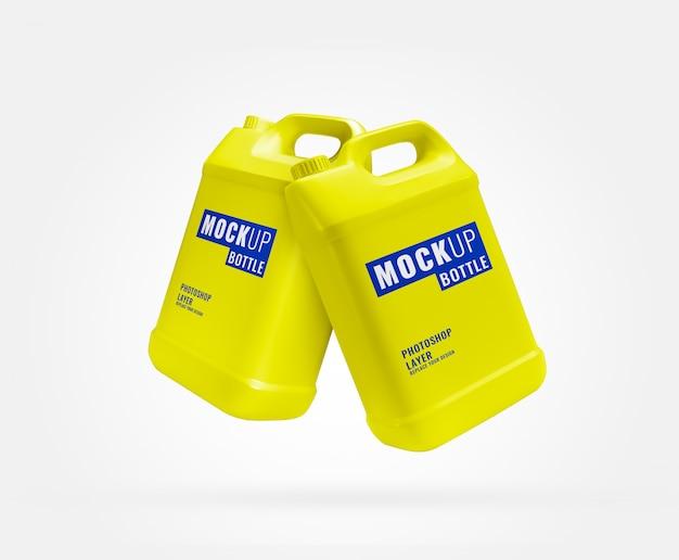 Makieta Reklamowa Butelki Długi żółty Galon Premium Psd