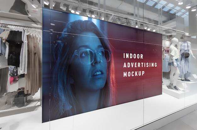 Makieta reklamy wewnętrznej poziomy billboard stojak w centrum handlowym sklep ping centrum sklepowe okno Premium Psd