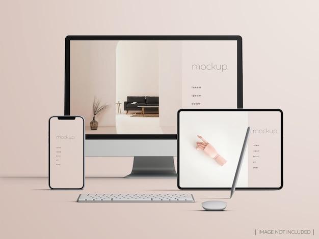 Makieta Responsywnego, Izolowanego Ekranu Urządzeń Z Widokiem Z Przodu Premium Psd