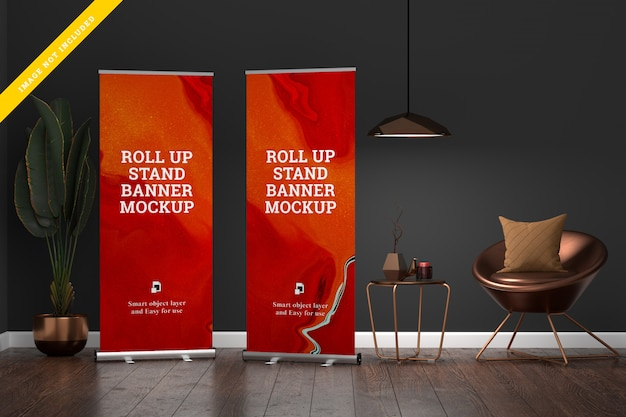 Makieta Roll Up Banner Stand W Salonie. Premium Psd