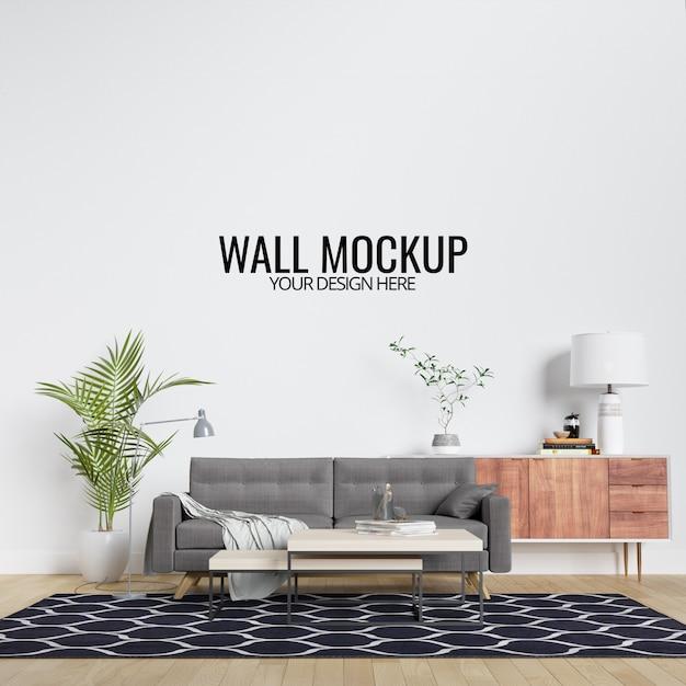 Makieta ściany nowoczesne wnętrze salonu z meblami i wystrojem Premium Psd