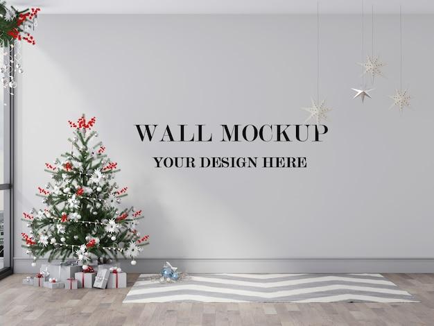 Makieta ściany Pokoju Bożego Narodzenia Renderowania 3d Premium Psd