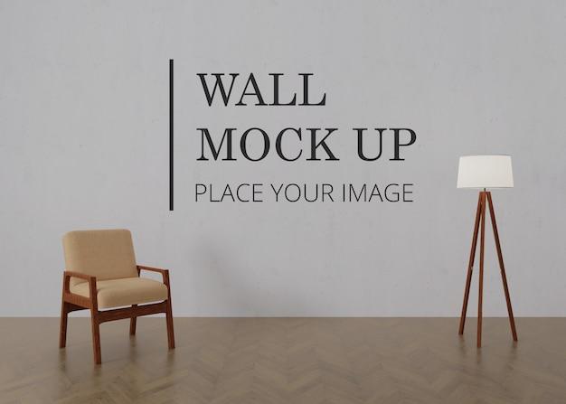 Makieta ściany Pustego Pokoju Z Drewnianą Podłogą - Pojedyncze Brązowe Drewniane Krzesło I Lampa Premium Psd