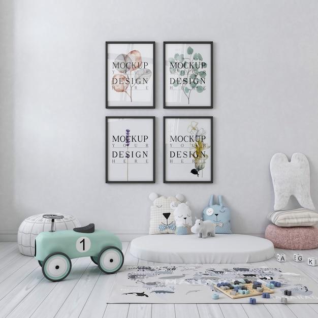 Makieta ściany W Białej Prostej Sypialni Dziecięcej Premium Psd