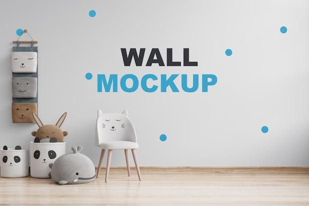 Makieta ściany W Pokoju Dziecięcym Na Białej ścianie. Renderowanie 3d Premium Psd