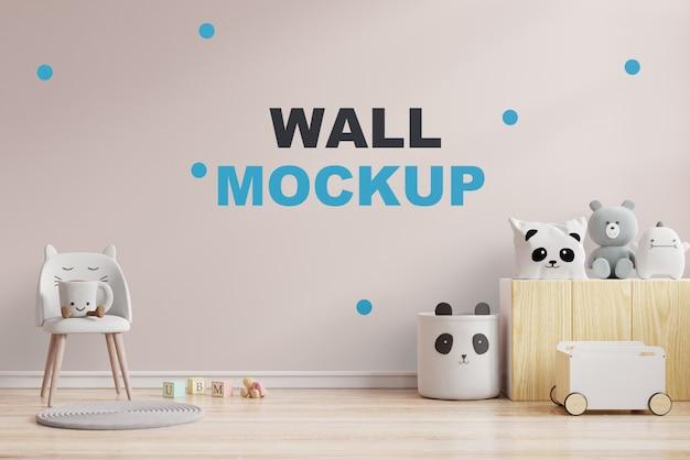 Makieta ściany W Pokoju Dziecięcym W Kremowej ścianie. Renderowanie 3d Premium Psd