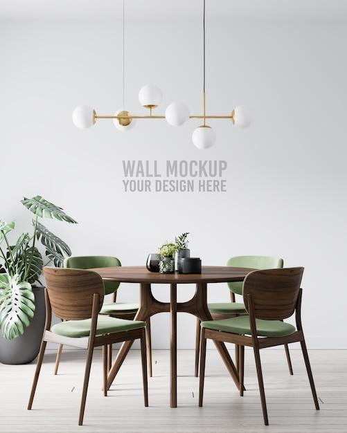 Makieta ściany Wewnętrznej Jadalni Z Zielonym Drewnianym Krzesłem Premium Psd