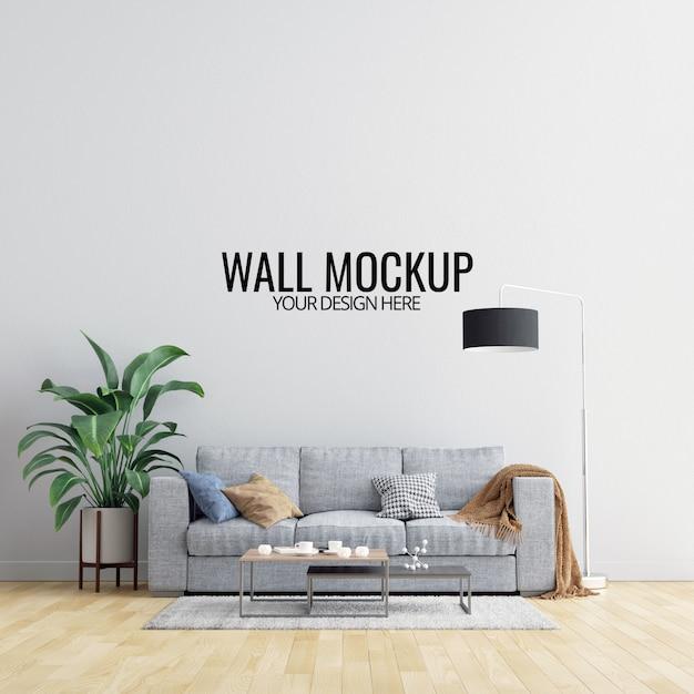 Makieta ścienna wnętrza salonu z meblami i dekoracją Premium Psd