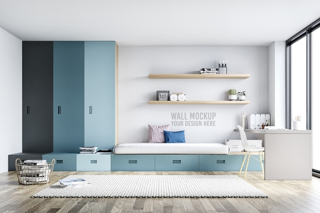 Makieta ścienna wnętrze sypialni dla dzieci z dekoracjami Premium Psd