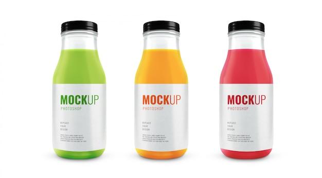 Makieta Szklanych Butelek Soku Owocowego Premium Psd