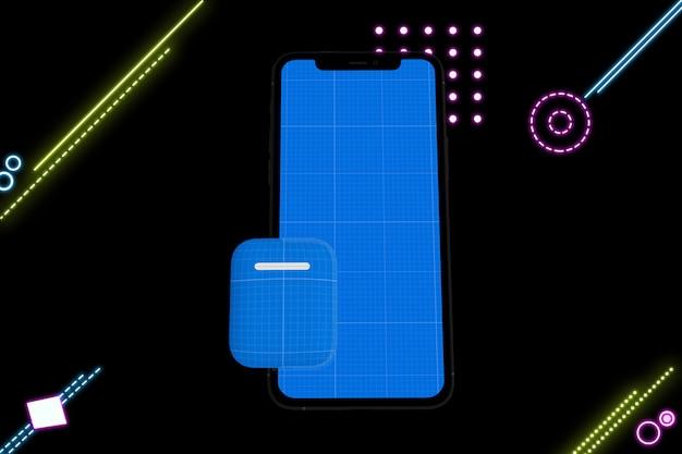 Makieta Telefonu I Słuchawki Neon Premium Psd