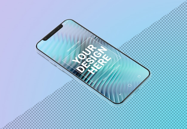 Makieta telefonu komórkowego na gradient Premium Psd