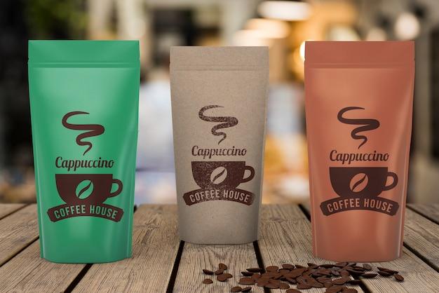 Makieta torebek z kawą Darmowe Psd