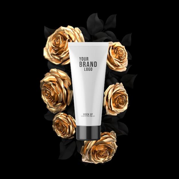 Makieta Tubki Kosmetycznej Na Czarnej Odrobinie Złotej Róży Premium Psd