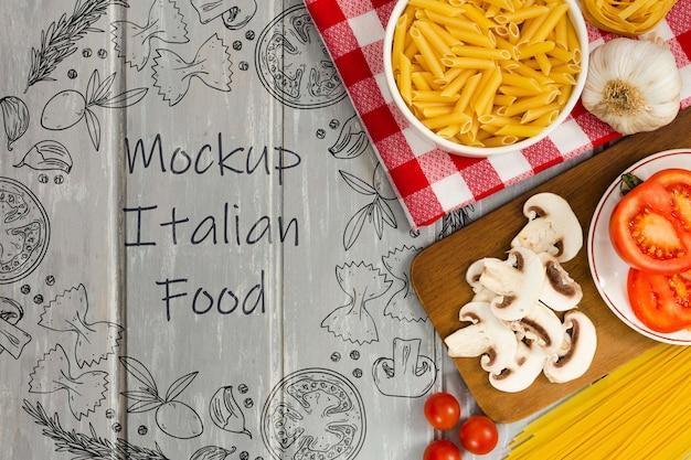 Makieta Włoskiego Jedzenia Z Pysznymi Składnikami Darmowe Psd