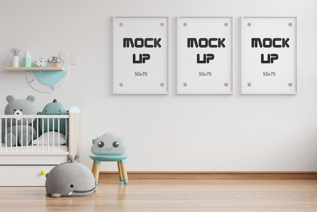 Makieta Wnętrza, Pokój Dziecięcy, Makieta Ramy ściennej Renderowania 3d Darmowe Psd