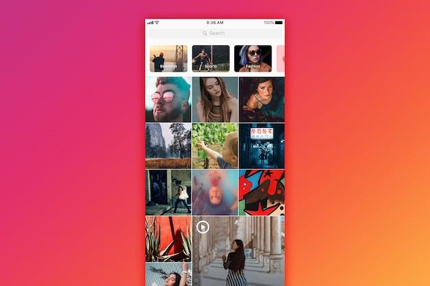 Makieta wyszukiwania na instagramie Premium Psd