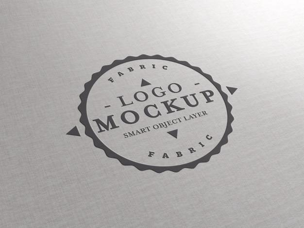 Makieta Z Wytłoczonym Logo Na Fakturze Tkaniny Premium Psd