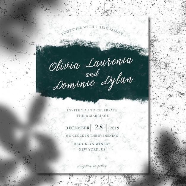 Makieta zaproszenia lub broszury z liści cień Premium Psd