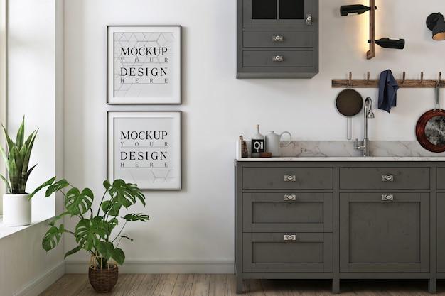 Makieta Zdjęć Ramki W Szarej Minimalistycznej Kuchni Premium Psd