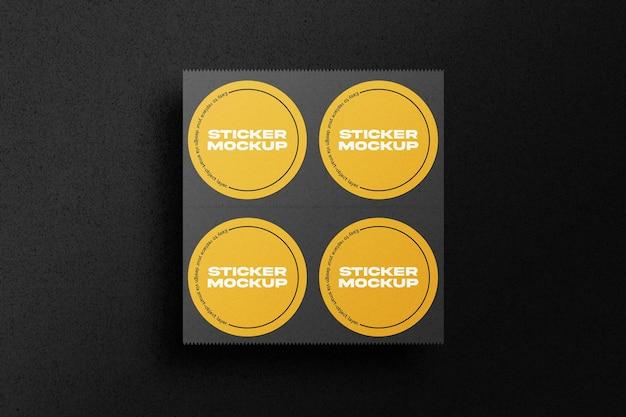 Makieta Zestaw Okrągłych Naklejek Premium Psd