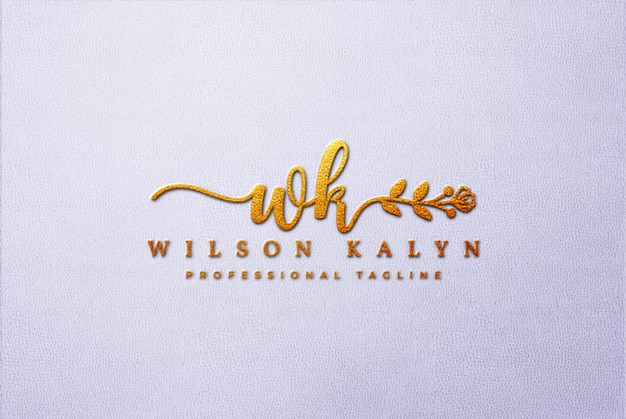 Makieta Złote Logo 3d Na Białej Skórze Premium Psd