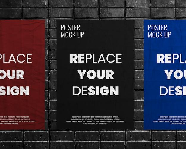Makieta Zmięty Pomarszczony Plakat Premium Psd