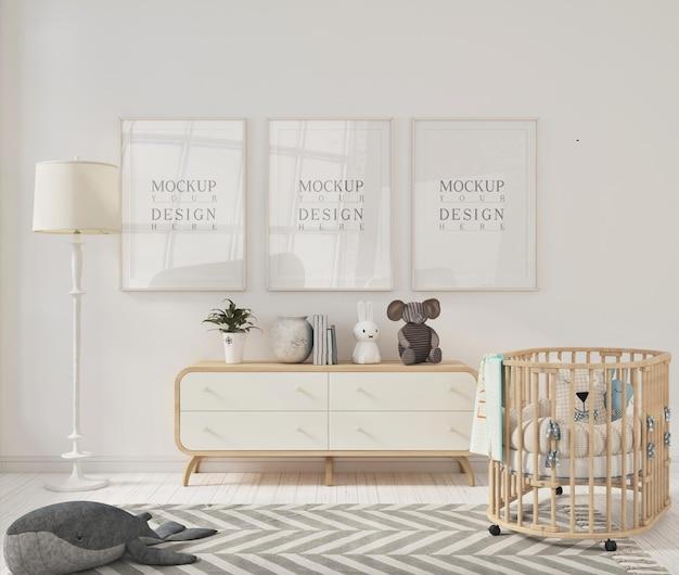 Makiety Ramek Na Zdjęcia W Nowoczesnym Pokoju Dziecięcym Premium Psd