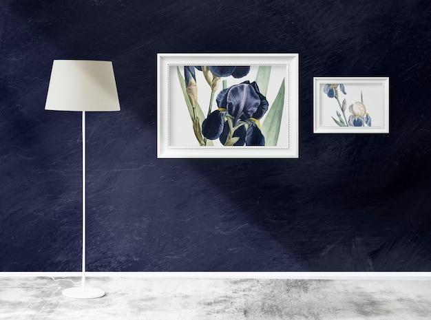 Makiety ramowe w pokoju z lampą Premium Psd
