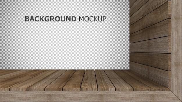 Makiety Tło Do Renderowania 3d Drewniany Panel Premium Psd