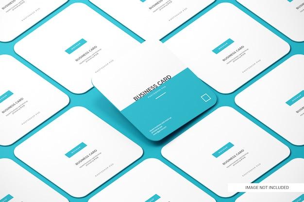 Makiety Zaokrąglone Kwadratowe Wizytówki Premium Psd