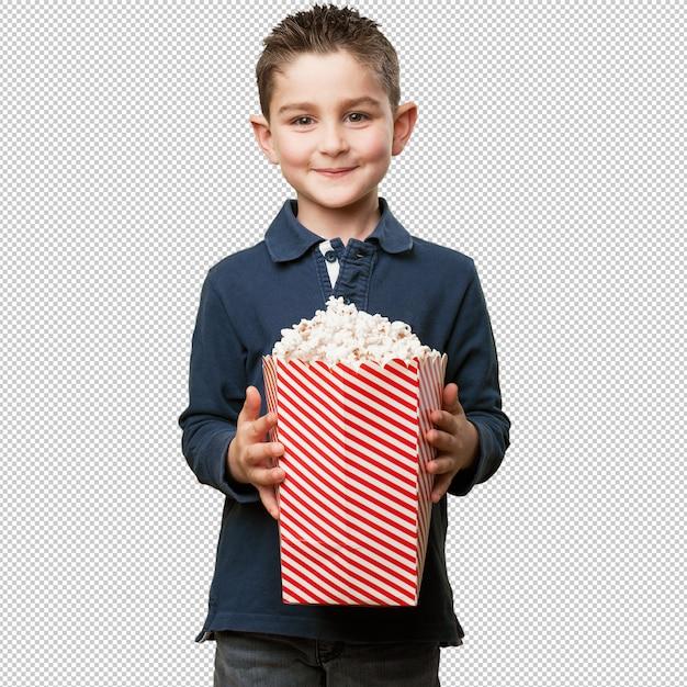 Małe Dziecko Je Popcorn Premium Psd
