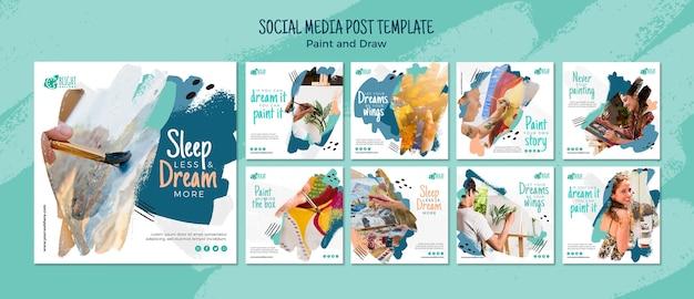 Maluj I Rysuj Posty W Mediach Społecznościowych Darmowe Psd