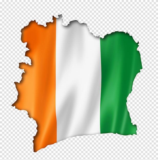 Mapa Flaga Wybrzeża Kości Słoniowej Premium Psd
