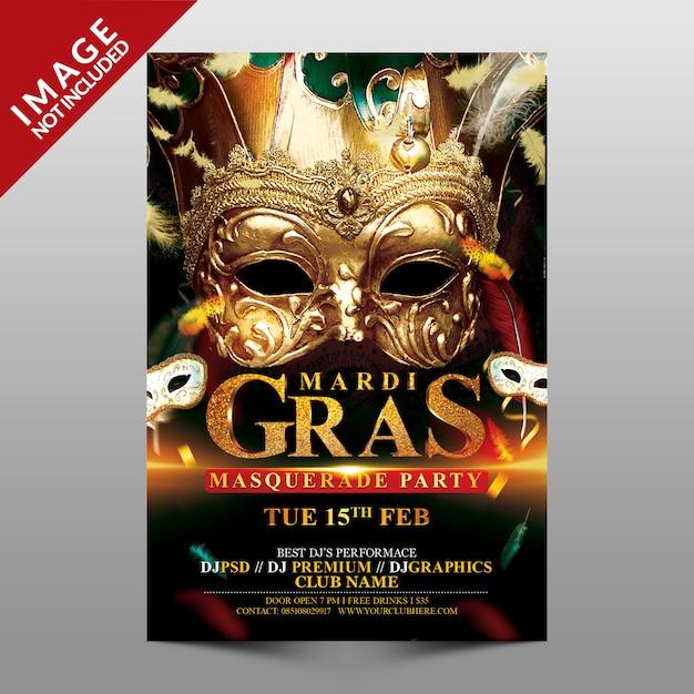 Mardi Gras Masquerade Party. Premium Psd
