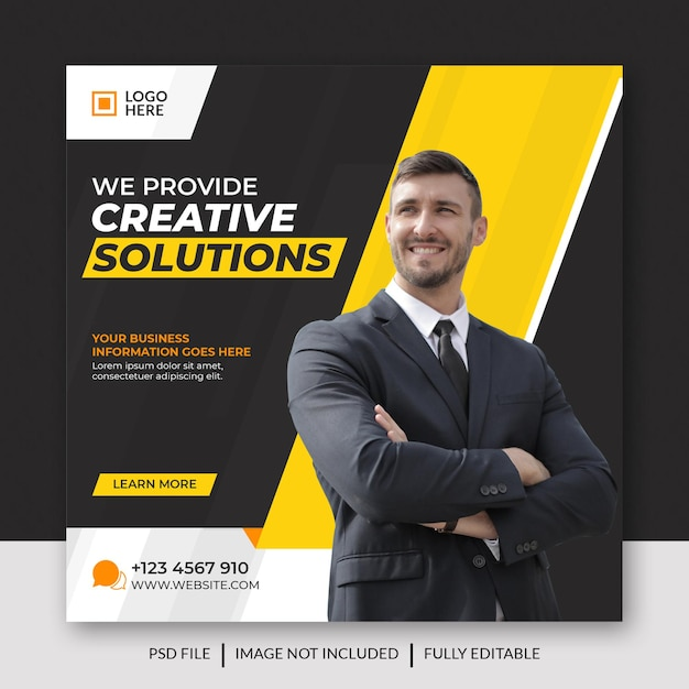 Marketing Biznesowy W Mediach Społecznościowych, Post Na Facebooku I Baner Internetowy Premium Psd