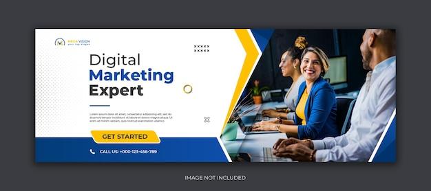 Marketing Cyfrowy Korporacyjny Szablon Okładki Na Facebooka Premium Psd