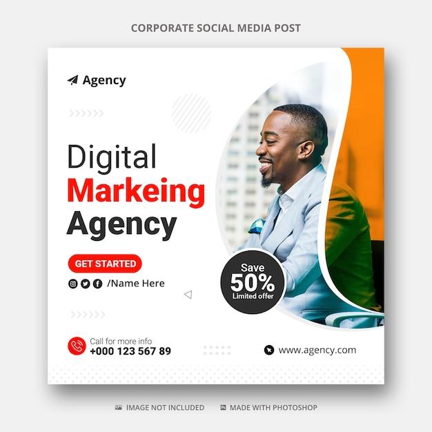 Marketing Cyfrowy W Mediach Społecznościowych I Szablon Banera Reklamowego Na Instagramie Premium Psd