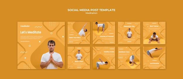 Medytacja Koncepcja Post W Mediach Społecznościowych Darmowe Psd