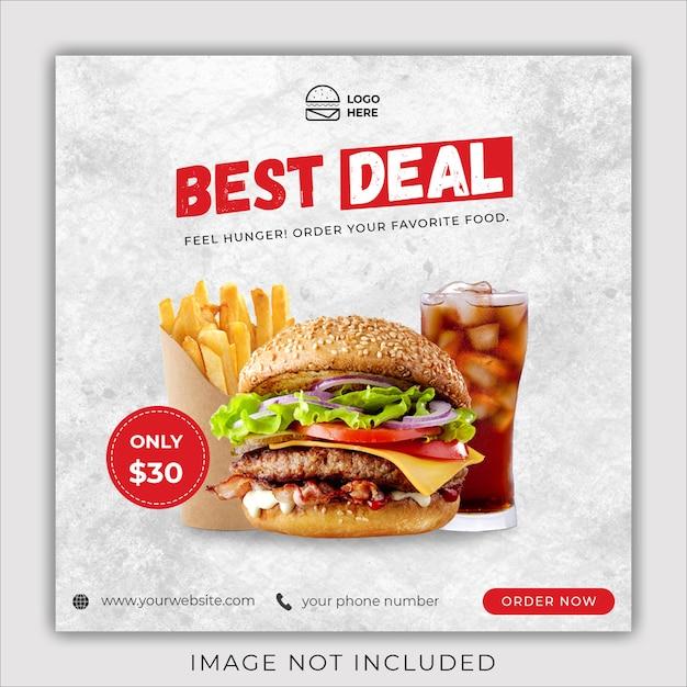 Menu Burger Promocja Social Media Instagram Szablon Transparent Post Premium Psd