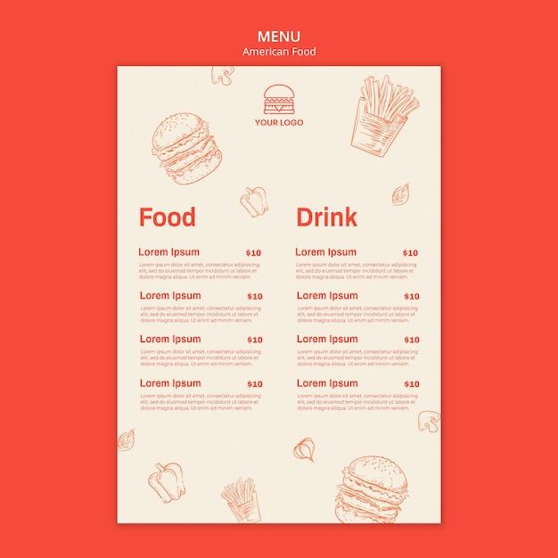Menu Dla Restauracji Burgerowej Darmowe Psd