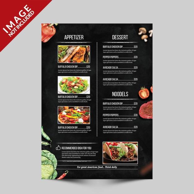 Menu Ulotki Szablon żywności Strona C Premium Psd