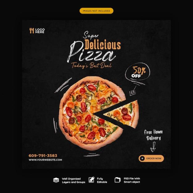 Menu żywności I Pyszna Pizza Szablon Transparent Media Społecznościowe Premium Psd