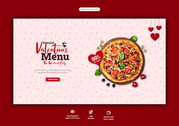 Menu żywności I Szablon Banera Internetowego Pysznej Pizzy Darmowe Psd